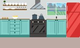 Ilustração do vetor da cozinha Projeto liso ilustração royalty free