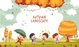 Ilustração do vetor da ilustração de ChristmasVector de Autumn Children ilustração stock