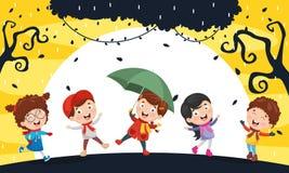 Ilustração do vetor da ilustração de ChristmasVector de Autumn Children ilustração do vetor