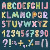 Ilustração do vetor da decoração do estilo do símbolo de letras da fonte do alfabeto dos retalhos Fotos de Stock