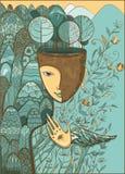 Ilustração do vetor da deusa da mãe Natureza Imagem de Stock Royalty Free