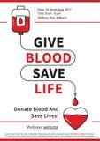 Ilustração do vetor da doação de sangue com coração vermelho Fotos de Stock Royalty Free