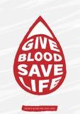 Ilustração do vetor da doação de sangue com texto com forma da gota do grunge Foto de Stock