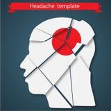 Ilustração do vetor da dor de cabeça, enxaqueca ou Imagem de Stock Royalty Free
