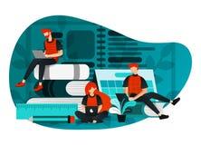 Ilustração do vetor da educação 4 0, aprendendo a revolução da indústria, estudo no Internet grupo de pessoas que estuda usando o ilustração stock