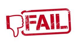 Ilustração do vetor da falha da palavra no selo vermelho da tinta com polegar ilustração stock