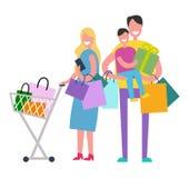 Ilustração do vetor da família da compra no branco Fotos de Stock Royalty Free