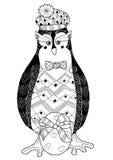 Ilustração do vetor da garatuja do ovo e do pinguim Ilustração Stock