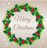 Ilustração do vetor da grinalda do Natal Felicitações do Feliz Natal Fotos de Stock