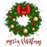 Ilustração do vetor da grinalda realística isolada do Natal com vermelho do Natal e ornamento do ouro, curvas da fita e bulbo Foto de Stock Royalty Free
