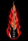 Ilustração do vetor da guitarra baixa nas flamas Fotos de Stock Royalty Free