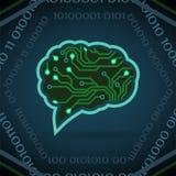 Ilustração do vetor da inteligência artificial da placa de circuito no azul ilustração do vetor