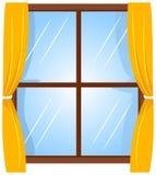 Ilustração do vetor da janela com cortina ilustração do vetor