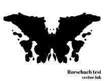 Ilustração do vetor da mancha da tinta do teste de Rorschach Borboleta da silhueta do teste psicológico isolada Vetor Fotos de Stock