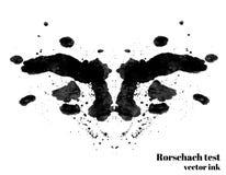 Ilustração do vetor da mancha da tinta do teste de Rorschach Mancha de tinta da silhueta do teste psicológico Fotografia de Stock