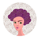 Ilustração do vetor da menina dos desenhos animados com cabelo encaracolado Imagem de Stock