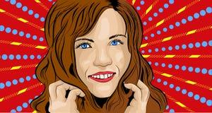 Ilustração do vetor da menina no pop art do estilo ilustração royalty free
