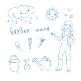 Ilustração do vetor da mulher e das ferramentas de jardim. ilustração royalty free