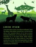 Ilustração do vetor da paisagem africana do safari do savana com molde do projeto do por do sol das silhuetas dos animais dos ani ilustração stock