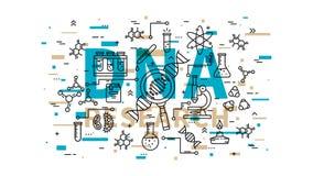 Ilustração do vetor da pesquisa do ADN com elementos coloridos Imagens de Stock