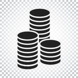 Ilustração do vetor da pilha das moedas O dinheiro empilhado inventa o ícone no fla Imagem de Stock Royalty Free
