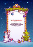 Ilustração do vetor da porta do Natal com boneco de neve Imagens de Stock Royalty Free