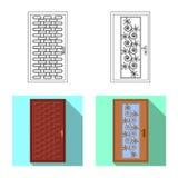 Ilustração do vetor da porta e do sinal dianteiro Grupo de porta e de símbolo de ações de madeira para a Web ilustração royalty free