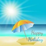 Ilustração do vetor da praia ensolarada do mar Imagens de Stock Royalty Free