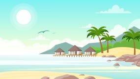 Ilustração do vetor da praia do mar com hotel Casas de campo pequenas bonitas no beira-mar do oceano Paisagem do verão, férias ilustração do vetor