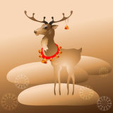 Ilustração do vetor da rena do Natal com sinos Fotos de Stock