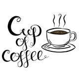 Ilustração do vetor da rotulação da xícara de café Imagens de Stock Royalty Free