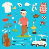 Ilustração do vetor da roupa e dos acessórios do jogador de golfe Jogador masculino Golfing do jogo exterior do clube Esporte dif Imagem de Stock Royalty Free