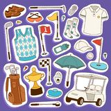 Ilustração do vetor da roupa e dos acessórios do jogador de golfe Jogador masculino Golfing do jogo exterior do clube Esporte dif Imagens de Stock