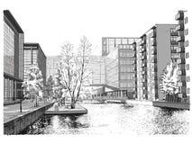 Ilustração do vetor da rua em Copenhaga Imagem de Stock
