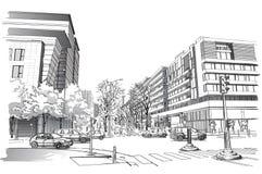 Ilustração do vetor da rua em Paris Imagem de Stock Royalty Free