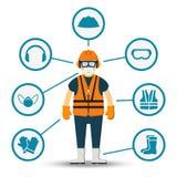 Ilustração do vetor da saúde e da segurança do trabalhador ilustração stock