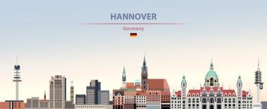 Ilustração do vetor da skyline da cidade de Hannover no fundo bonito do céu do dia do inclinação colorido com a bandeira de Alema ilustração stock