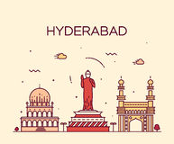 Ilustração do vetor da skyline de Hyderabad linear Imagem de Stock