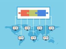 Ilustração do vetor da tecnologia de Blockchain O base de dados público das transações é gravado nos computadores que correm no m Fotografia de Stock
