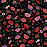 Ilustração do vetor da textura sem emenda bonita das papoilas e das tulipas no fundo preto imagens de stock royalty free
