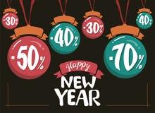 Ilustração do vetor da venda 2019 do ano novo com lugar -70 -40 -30 da bola -50 para o texto ilustração do vetor