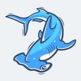 Ilustração do vetor da vida marinha do tubarão de Hammerhead Foto de Stock Royalty Free