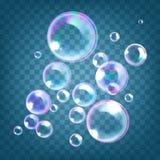 Ilustração do vetor das bolhas de sabão realísticas com reflexão do arco-íris isoladas no fundo transparente azul ilustração royalty free