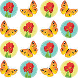 Ilustração do vetor das borboletas e das tulipas Fotografia de Stock Royalty Free