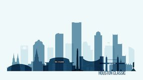 Ilustração do vetor das construções da skyline de Houston ilustração royalty free