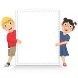 Ilustração do vetor das crianças bonitos que guardam o branco Fotografia de Stock Royalty Free