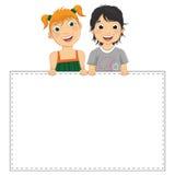 Ilustração do vetor das crianças bonitos que guardam Banne Fotografia de Stock Royalty Free