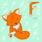 Ilustração do vetor das crianças da raposa da letra F do alfabeto Fotos de Stock Royalty Free