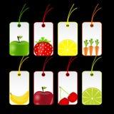 Ilustração do vetor das etiquetas das frutas frescas Imagens de Stock
