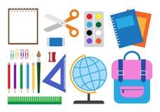 Ilustração do vetor das fontes de escola ajustadas ilustração royalty free